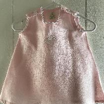 Light Pink Baby Dress No Sleeves With White Tatting On Neck,Sleeve and Hem. Lace Teneriffe On Th...