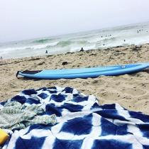 Hanging at the beach. Japanese Shibori Sekka Pattern dyed in indigo on bleached white linen IL01...
