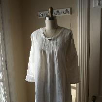 Vintage Inspired Heirloom White Linen 'Nancy' Nightgown by Breathe Sleepwear. This lovely year-r...