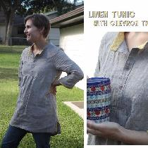 A linen tunic made from natural linen, with quilting cotton chevron trimmings on hem, collar and...