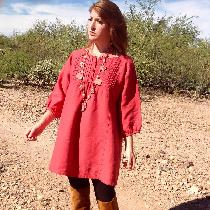Hand-Dyed Aurora Red, 100% European Mid-Weight Linen, modeled by Kelsey O'Shea in the Sonoran De...
