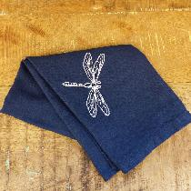 Embroidered tea towel using mid weight navy linen