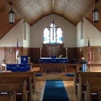 I used rustic 4C22 linen in royal blue for these hand sewn pulpit frontal, altar frontal, burse,...