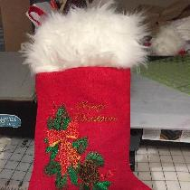 MERRY CHRISTMAS STOCKING WITH PINE AND HOLLY EMBROIDERED DESIGN ON FIRECRACKER RED, LINED WITH W...