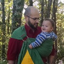 A Zelda inspired ring sling baby carrier.