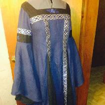 Custom fantasy inspired feast dress, made with cobalt blue and black all purpose linen (IL019) f...