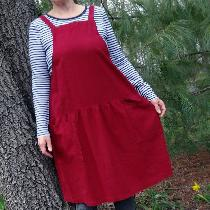 A jumper from my own pattern, made with cranberry coloured linen. Perfect for any season!