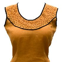 I made this top (IL020 Autumn Gold softened) with hand-smocking on a bias strip in the yoke. To...
