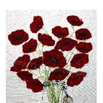 'POPPY LOVE' - applique designed and stitched by me using doggie bag linen pieces