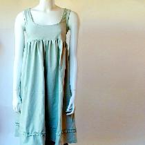Linen tunic dress I made with medium weight Linen cloth in pale Mint color. Coordinating linen b...