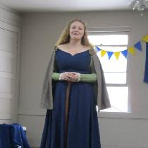 100% linen kirtle (green) and surcoat (blue), circa 1400. Worn with a wool mantle an reproductio...