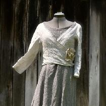 Open weave linen wrap top made from the Faircloth wrap dress pattern (thank you very much, love...
