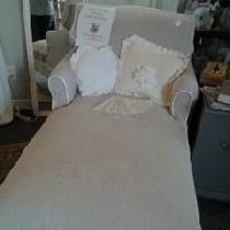 Jan, Chaise slipcovered in natural and bleach...