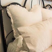 The ruffled shams in the back are made from 4C22 in Bleached.  The ties on the front pillows are...