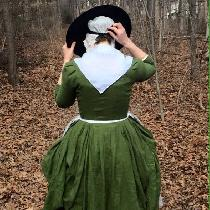 An 18th century English gown in IL019 VINEYARD GREEN Softened.