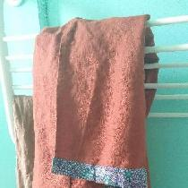 Linen bath towel with Australian tribal cotton accent and loop. The linen is so soft and absorbe...