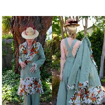 1930's Beach Pajamas/Coat Decade's of Style Patterns Linen- IL020 HEDGE GREEN Softened Trimmed w...
