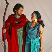Moses and Tzipporah from The Prince of Egypt. All naturally dyed linen tunics. Moses' wool robe...