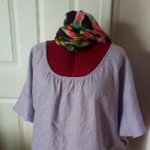 Bias cut blouse in IL020 SILVER LILAC.