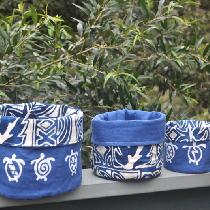 Nesting reversible fabric containers.  Silk-screened mid weight linen lined with 100% cotton Haw...