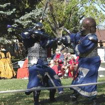 Our beautiful new linen fighting tunics in action at Northshield's Fall Crown Tournament.