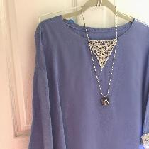 Tunic with handmade lace at cuffs and neckline made with IL019 in Wisteria.