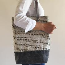 Tote bag screen printed with original design on 42CC mixed natural linen.