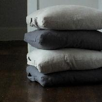 Linen floor cushions using 4C22 Graphite-softened and 4C22 Natural.