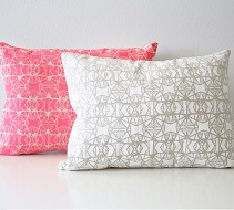 These pillows are screen printed by hand on 100% linen and are available on my home goods store...