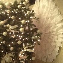 Ruffled christmas tree skirt, all white heavy linen five ruffles in a overlapping ruffle design....
