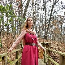 I made this durable viking inspired dress and apron from heavy weight linen. The apron was dyed...
