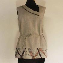 Claranne, Sleeveless tunic with asymmetrical neckl...
