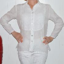 Tuxedo shirt made with optic white  handkerchief linen IL202 perfect for Hawaii.