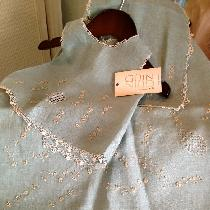This is a newborn set that includes blanket, burp cloth and shirt. All pieces are handmade (lace...