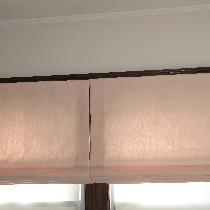 Pair of Flat Roman Shades in multipurpose pink, crafted in my studio in Peekskill, NY.