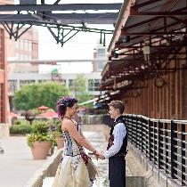 Custom designed and fabricated wedding corset and skirt created with linen, silk, and cotton fab...