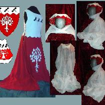 Heraldry overdress and hat with cauls made using IS003 CRIMSON Softened and 4C22 BLEACHED.  The...