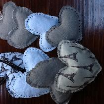 Lavender heart sachets with linen and cotton. Hand stitched with waxed linen and some with ribbo...