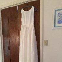 My daughters wedding dress - a blend of two vintage patterns made from optic white handkerchief...