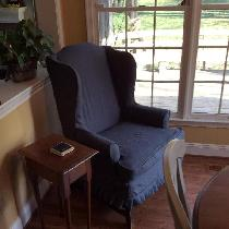 Stephanie, Chair slipcover made out of graphite lin...