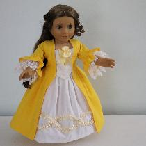 Colonial dress for an American girl doll. Everything is made out of linen with the exceptions of...
