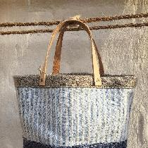 Bucket tote bag in three linen fabrics w/ veg. tanned leather handles and antique brass rivets :...