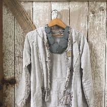Jacket with natural medium weight and light weight linen.