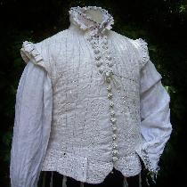 after a circa 1590's doublet- multilayer line lined with silk- hand embroidered, and woven butto...