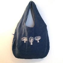 reversible linen bag with hand embroidered trees made with Blue Bonnet softened linen