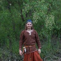 This is a complete set of Birka-style Viking Clothing I made for my husband.  His undertunic is...