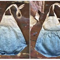 Simple linen baby romper, dip dyed in indigo. Inspired by one of my vintage rompers I wore as a...
