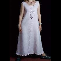 Maria, Slip on linen dress with embroidery and...
