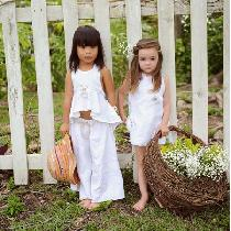 The Little Gems Girl Toddler 100% linen collection #IL019 white