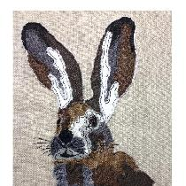 'HARE' - designed and stitched by myself using doggie bag scraps